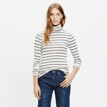 Slim Turtleneck Top in Cento Stripe