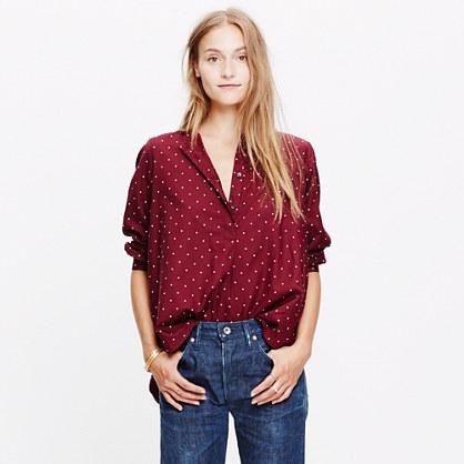 Shirred Popover Shirt in Microdot