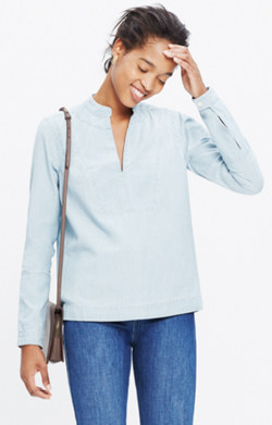 Denim Popover Shirt in Lauryn Wash