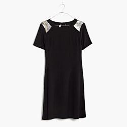 Silk Sequin-Yoke Dress in True Black