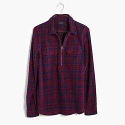 Flannel Zip-Front Popover Shirt in McKinney Plaid