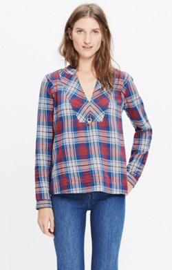 Indigo-Dyed Popover Shirt in Casey Plaid
