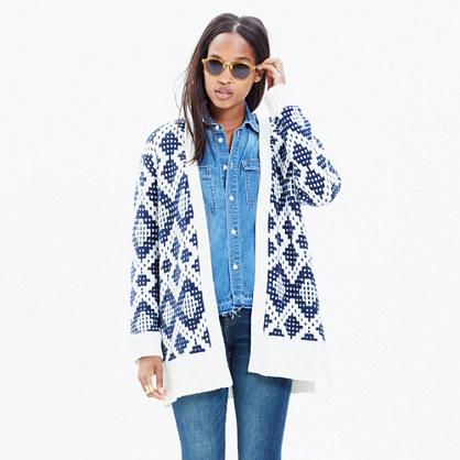 Contrast Fair Isle Cardigan Sweater : cardigans & sweater-jackets ...