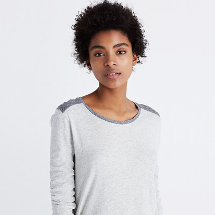 Whisper Cotton Long-Sleeve Crewneck Tee in Colorblock