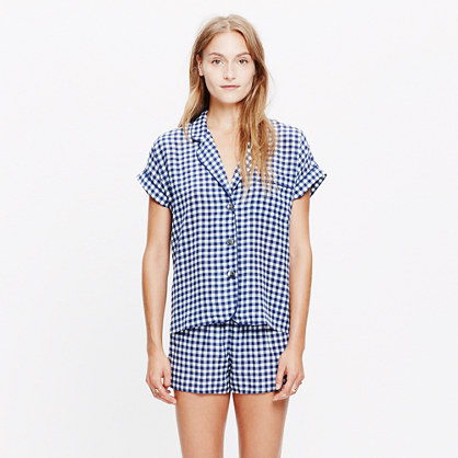 Silk Bedtime Top in Gingham Check