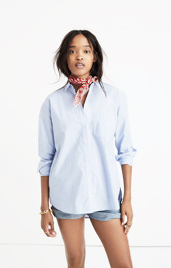 Oversized Boyshirt in Waterfall Blue