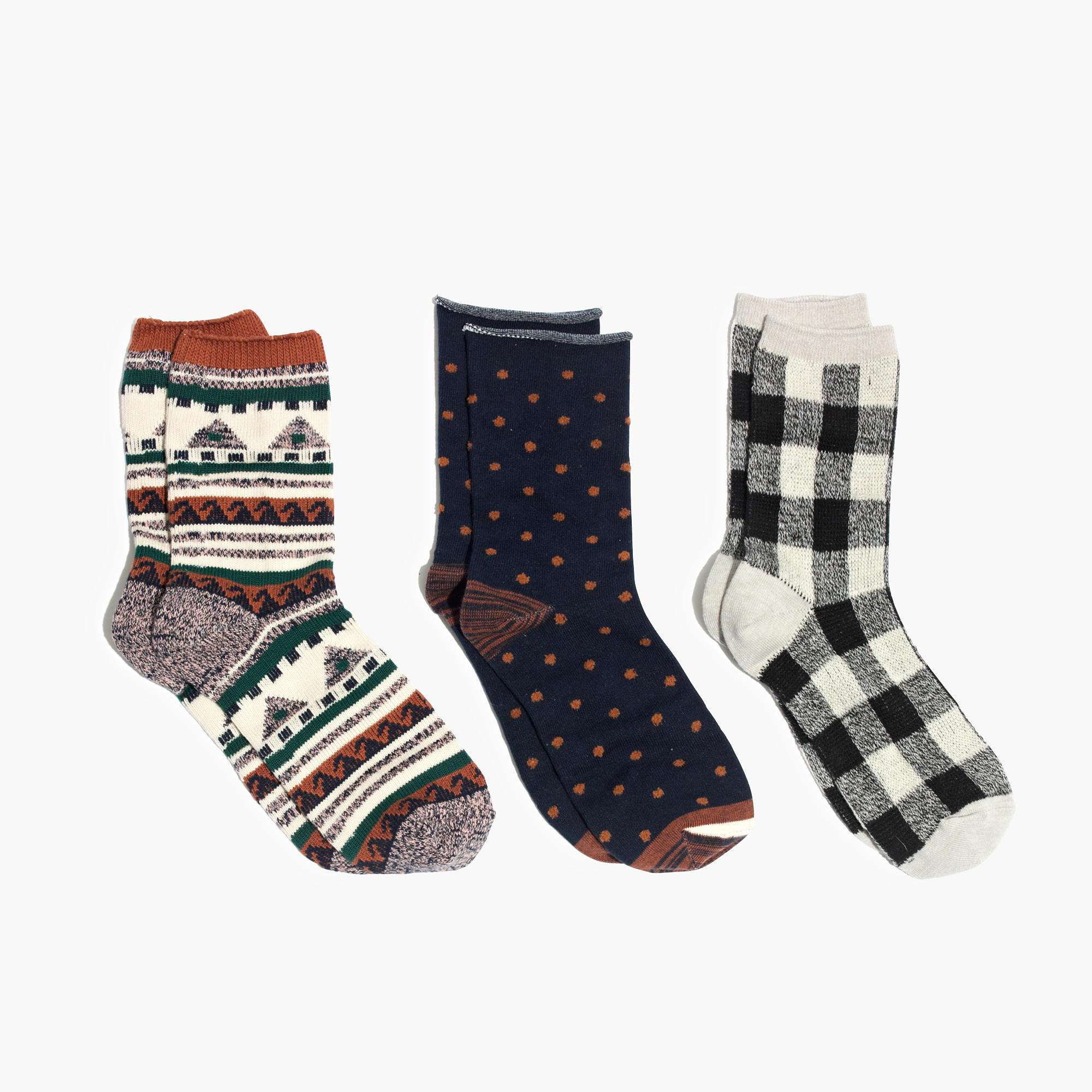 three-pack navy print-mix trouser socks by madewell