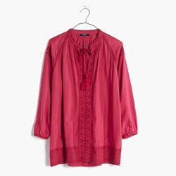 Embroidered Camelia Tassel Top