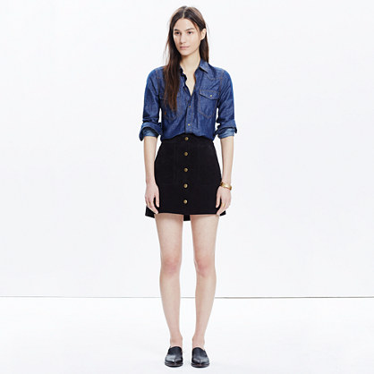 Madewell x Daryl K® Suede Snap-Front Skirt
