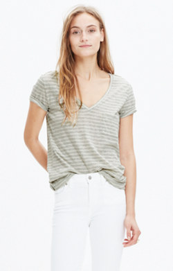 Whisper Cotton V-Neck Pocket Tee in Albury Stripe