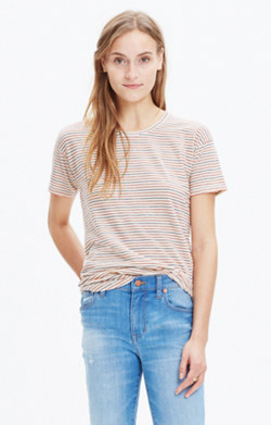 Whisper Cotton Crewneck Tee in Sacramento Stripe