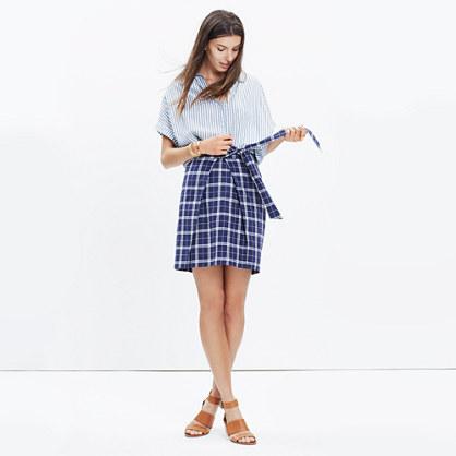 Plaid Tie-Front Skirt