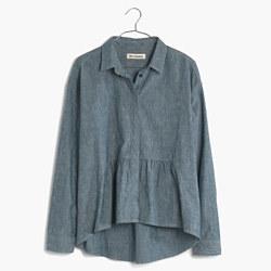 Rivet & Thread Denim Ruffle Shirt