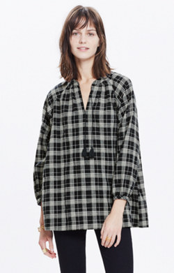 Camelia Tassel Top in Dorian Plaid