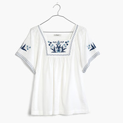 Embroidered Alma Peasant Top