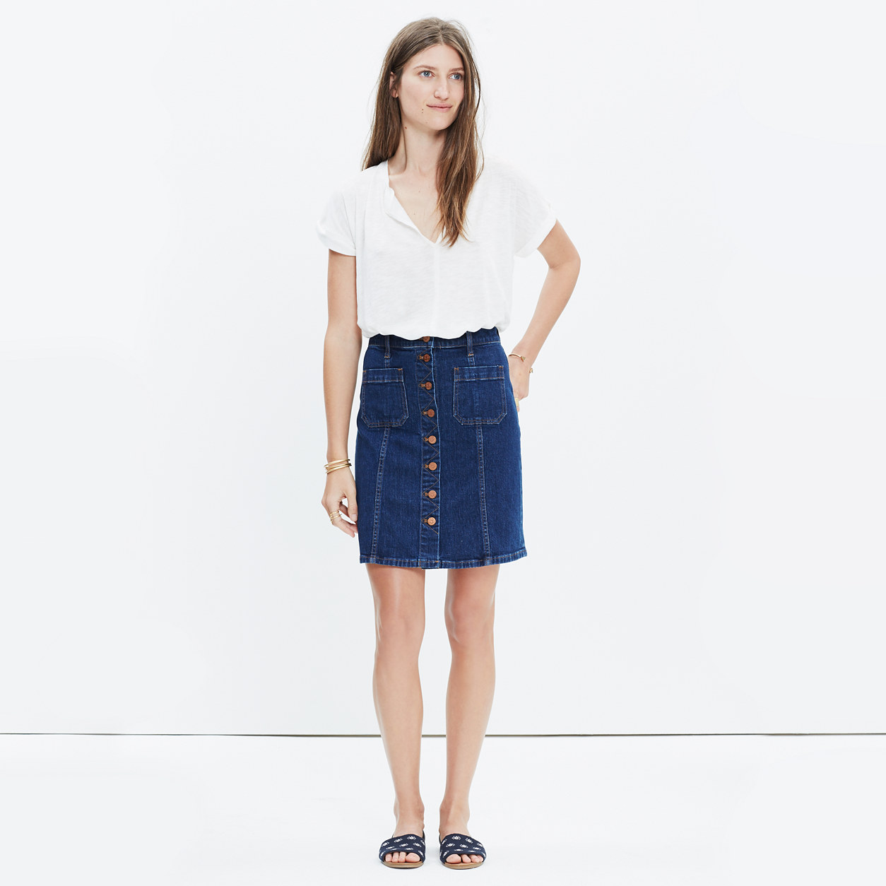 Denim Button-Front Skirt : mini | Madewell