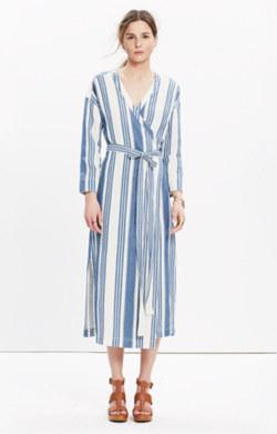 Wrap Midi Dress in Linn Stripe