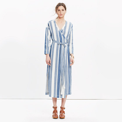 Wrap Midi Dress in Linn Stripe : casual dresses | Madewell