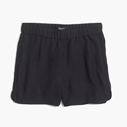 Drapey Pull-On Shorts in True Black