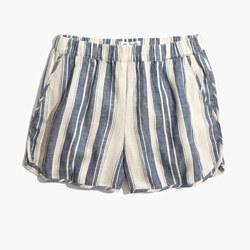 Pull-On Shorts in Indigo Stripe