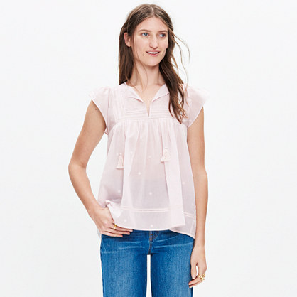 Ulla Johnson™ Embroidered Flutter-Sleeve Top