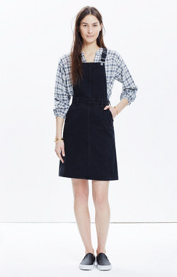 Denim Jumper Dress in Washed Black