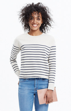Cutoff Sweatshirt in Stripe