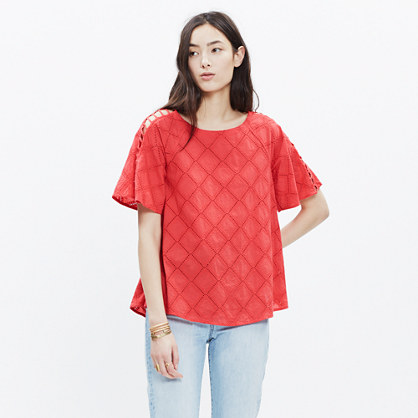 Embroidered Lattice Top