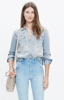 Denim Lace-Up Shirt