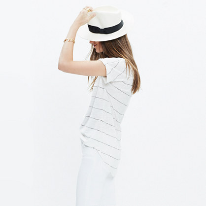 Turntable Split-Neck Tee in Calgary Stripe