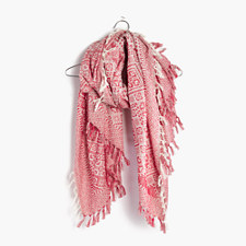 Tile Jacquard Scarf - FLAME RED