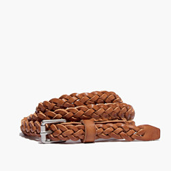 Leather Skinny Braided Belt