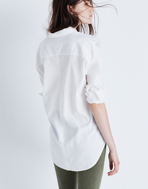 Drapey Oversized Boyshirt in Pure White in pure white image 2