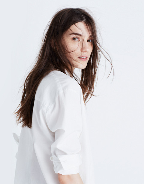 Drapey Oversized Boyshirt in Pure White in pure white image 3
