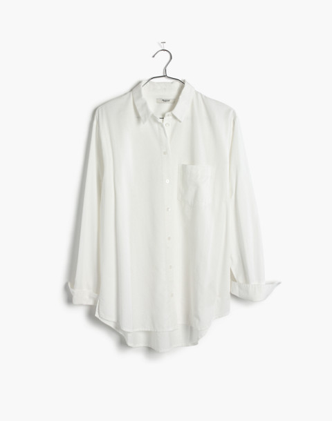 Drapey Oversized Boyshirt in Pure White in pure white image 4