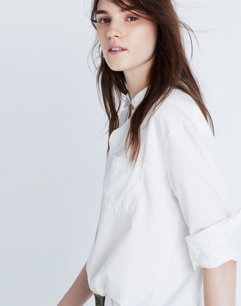 Drapey Oversized Boyshirt in Pure White in pure white image 1