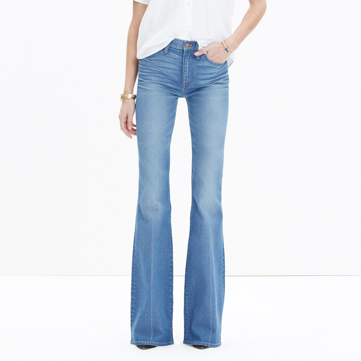 Flea Market Flare Jeans in Maribel Wash : demi-boots & wide-leg ...