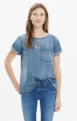 Denim Drop-Hem Tee in Edna Wash