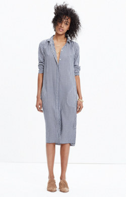 Midi Shirtdress in Gingham Check