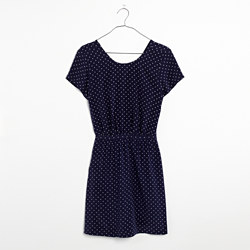 Silk Cross-Back Dress in Dots & Stars