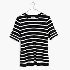 Striped Short-Sleeve Sweater - TRUE BLACK