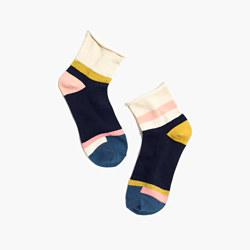 Mismatch Bouclé Colorblock Ankle Socks