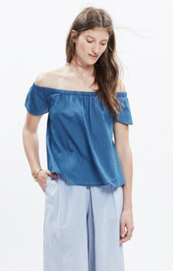 Indigo Cotton Off-the-Shoulder Top