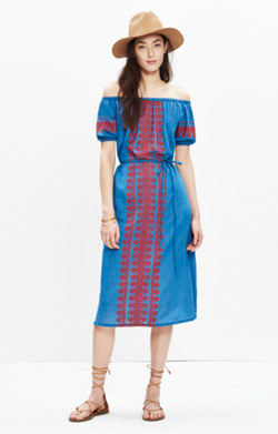 Embroidered Indigo Mercado Dress