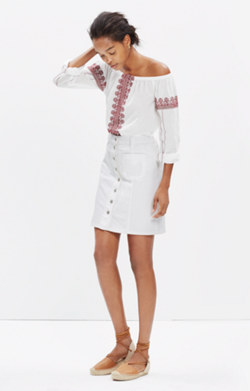 Denim Button-Front Skirt in Pure White
