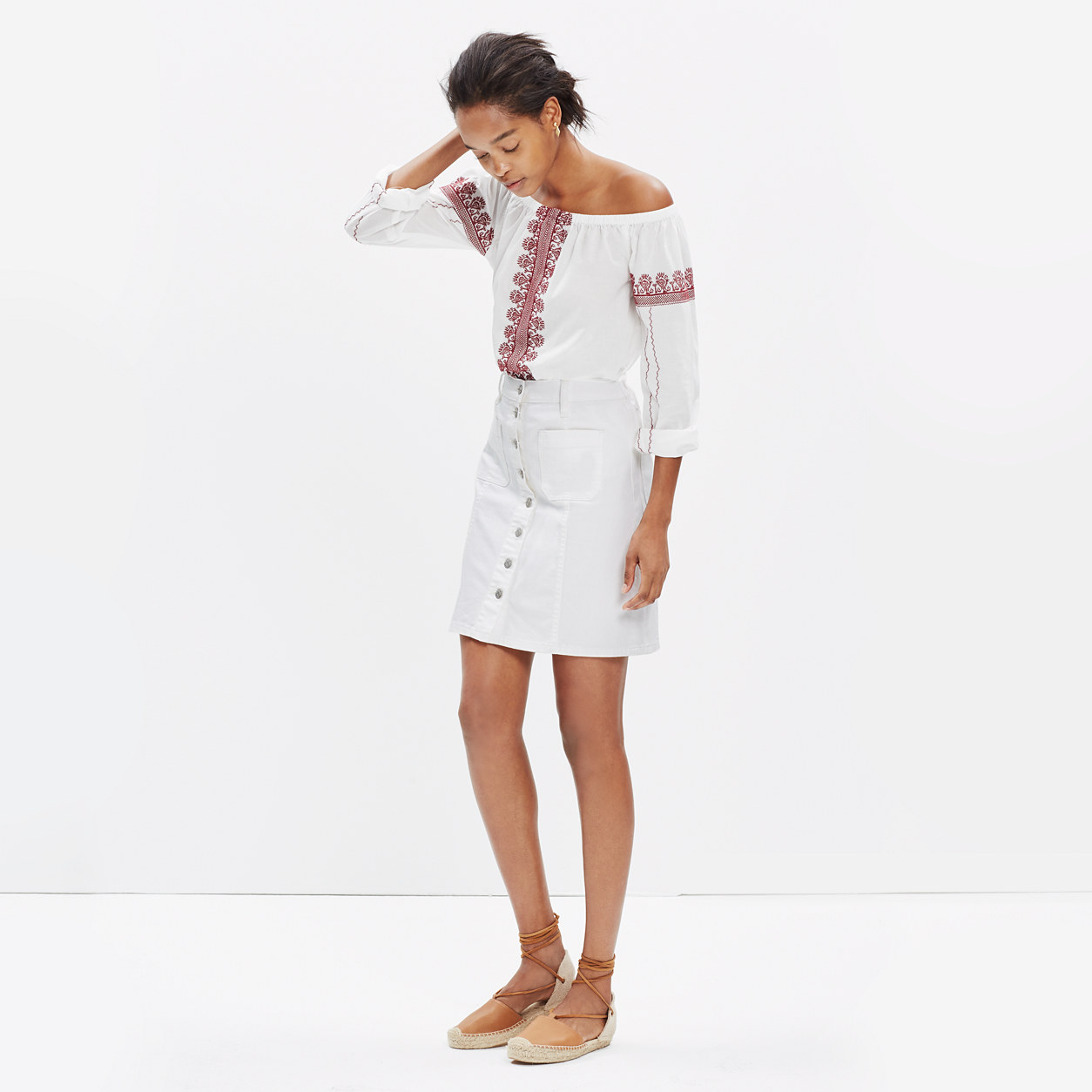 Denim Button-Front Skirt in Pure White : mini | Madewell