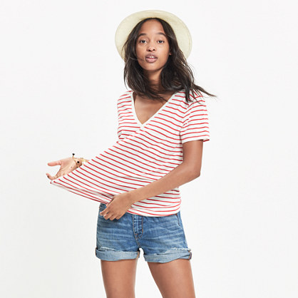 Whisper Cotton V-Neck Pocket Tee in Alhambra Stripe