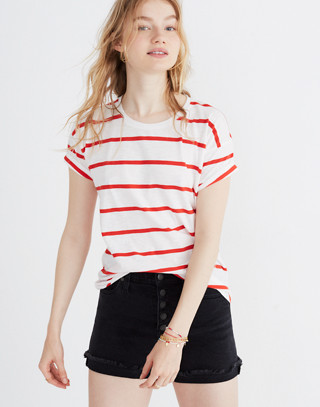 Whisper Cotton Crewneck Tee in Creston Stripe in red image 2