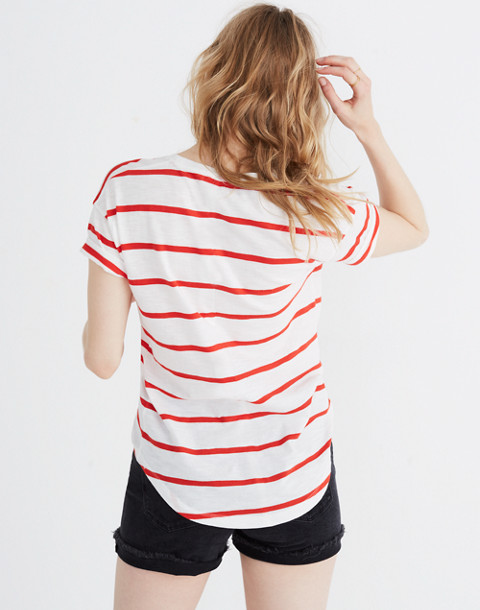 Whisper Cotton Crewneck Tee in Creston Stripe in red image 3