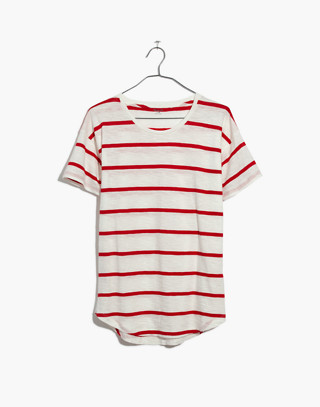 Whisper Cotton Crewneck Tee in Creston Stripe in red image 4